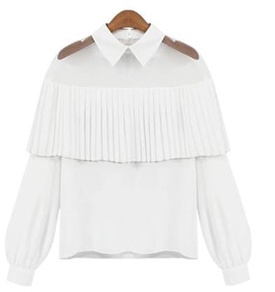 Gauze Chiffon Patchwork Turn-down Collar Long Sleeves Blouse