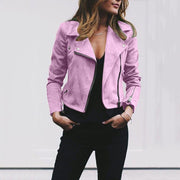 Candy Color Laple Zippers Women Slim Cropped Short Jacket