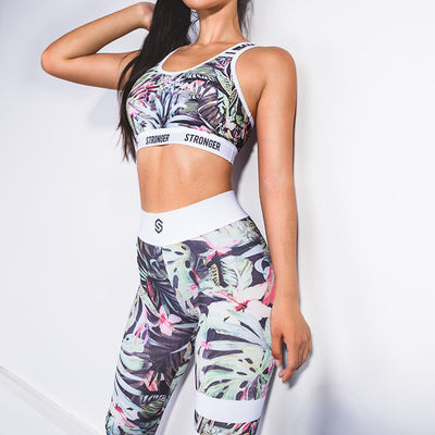 Print Crop Top High Waist Skinny Women Two Pieces Set