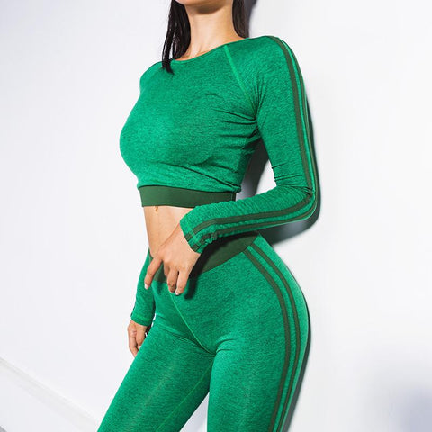 Patchwork Crop Top with High Waist Women Two Pieces Sports Set