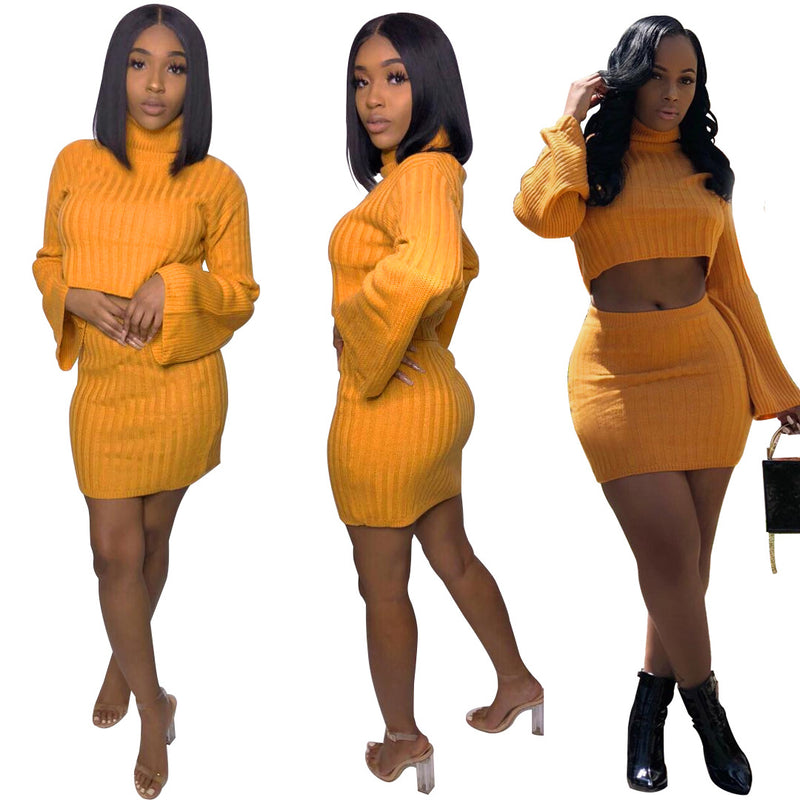 Bright Color Turtleneck Long Trumpet Sleeve with High Waist Short Skirt Two Pieces Set