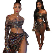 Off the Shoulder Long Trumpet Sleeves Crop Top Split Short Skirt Two Pieces Set