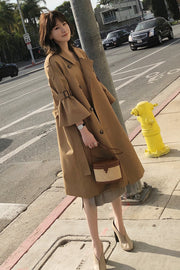 Solid Color Double Breast 3/4 Trumpet Sleeves Oversized Women Coat
