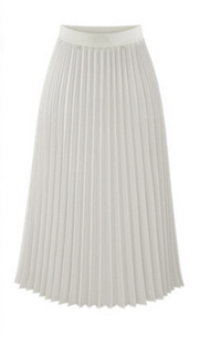 Solid Pleated Long Slim Skirt - Meet Yours Fashion - 4