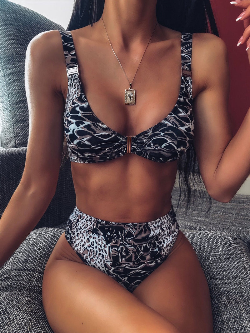 Hot Print High Rise Thong Bottom Bikinis