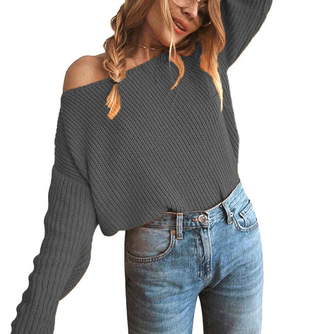 Boat Neck Bare Shoulder Solid Color Women Pullover Sweater