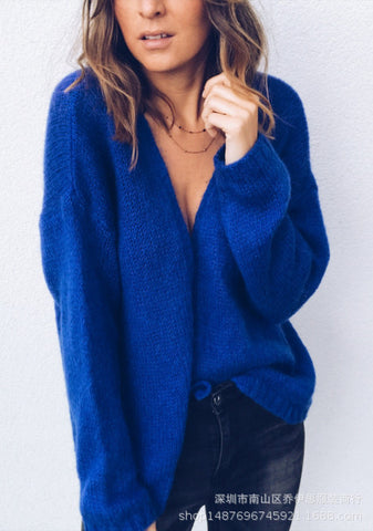 Deep V-neck Long Batwing Sleeves Women Wrapped Cardigan