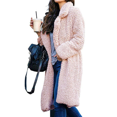Lapel Collar Women Solid Color Oversized Teddy Coat