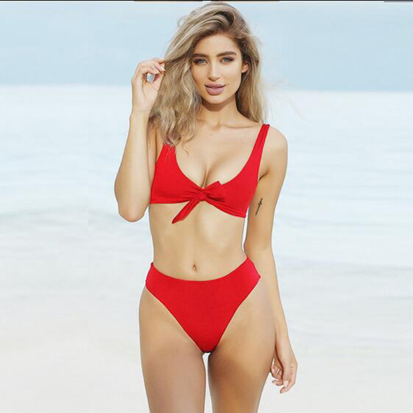 Plain Front Tie Mid Rise Two Pieces Bikini