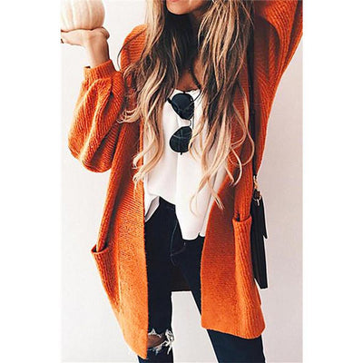 Oversized Pockets Long Bishop Sleeves Women Cocoon Cardigan