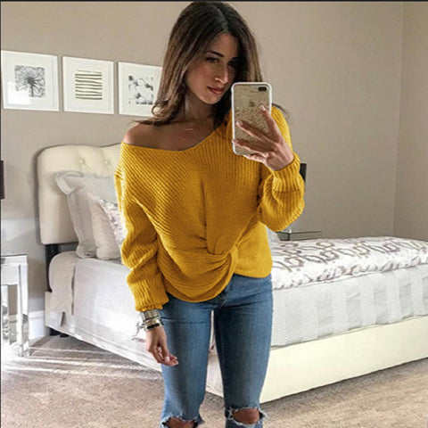 Candy Solid Color V-neck Bare Shoulder Women Wrap Loose Sweater