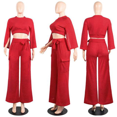 Solid Color Long Split Sleeves Crop Top with Long Wide-leg Pants Women Two Pieces Set