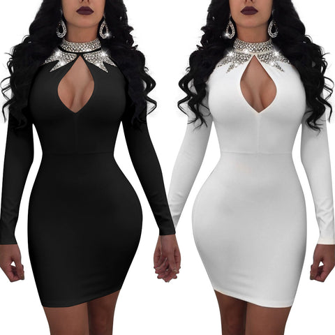 Sequins High Neck Cut Out Women Bodycon Short Dress