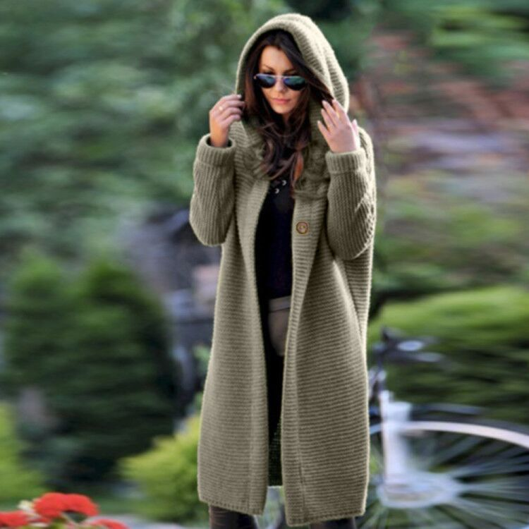 Solid Color Knited Women Oversized Hooded Cardigan Coat