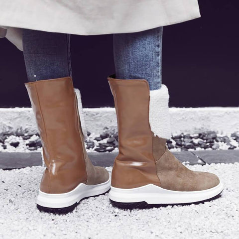 Winter Leather Flat Round Toe Mid Calf Boots