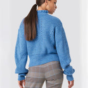 High Turtleneck Solid Color Women Pullover Loose Blue Sweater