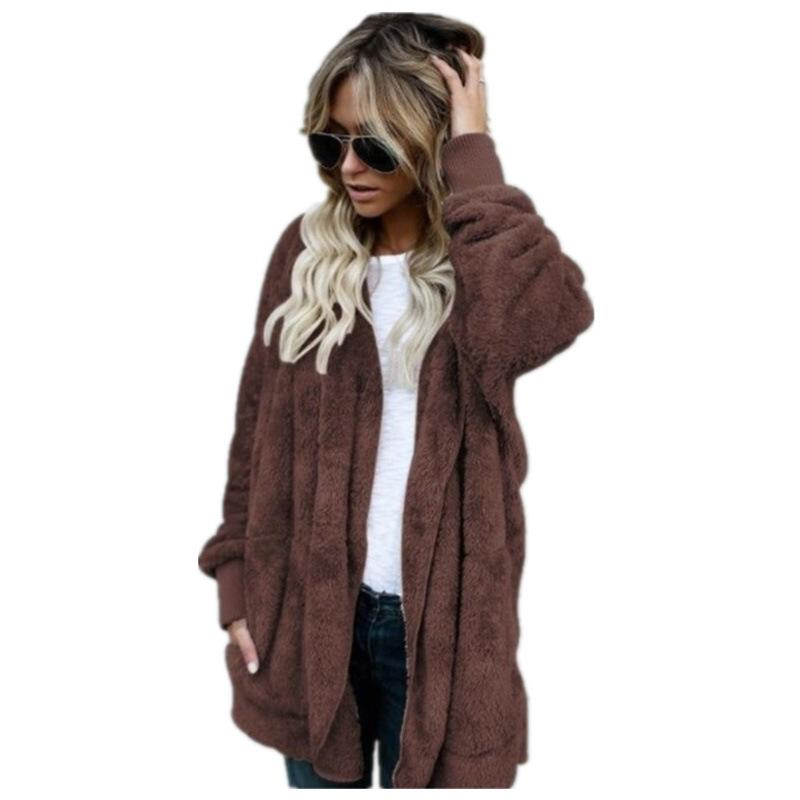 Pockets Solid Color Women Loose Hooded Oversized Teddy Coat