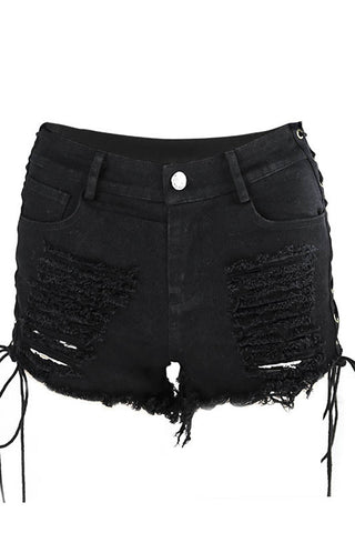 Pure Color Denim Hole Regular Slim Shorts