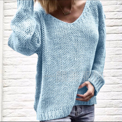 Sweetheart V-neck Candy Color Women Loose Pullover Sweater