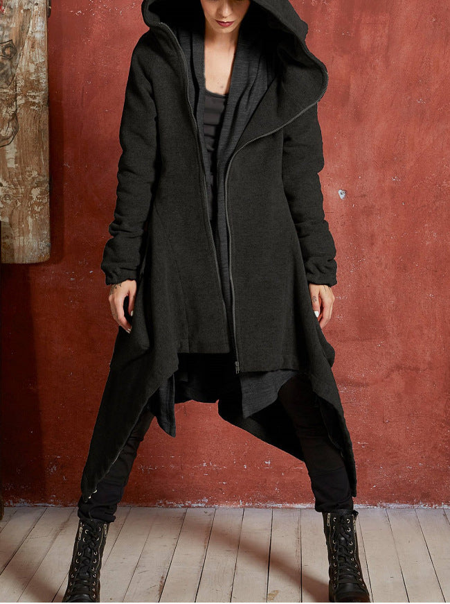 Solid Color Zipper Big Pockets Women Hooded Oversized Irregular Coat