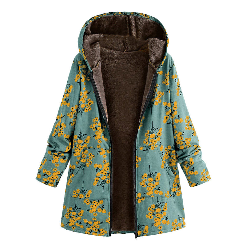 Floral Print Zipper Women Hooded Long Oversized Plus Size Coat