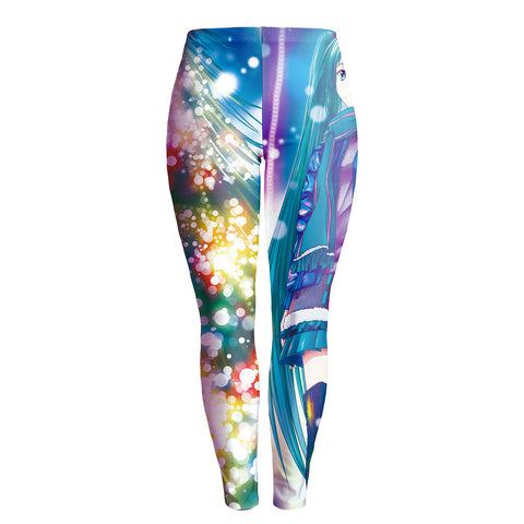 Colorful Print Elastic Waist Women Christmas Party Leggings Pants