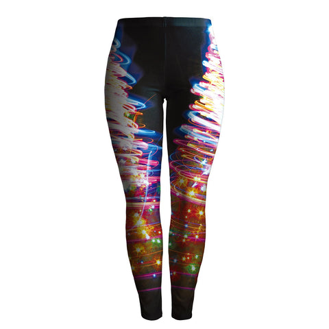 Mid Waist Colorful Print Women Skinny Christmas Party Leggings