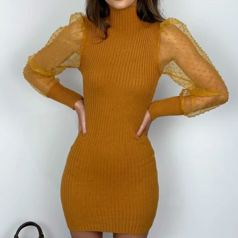 Spot Mesh Splice Knit Short Dress