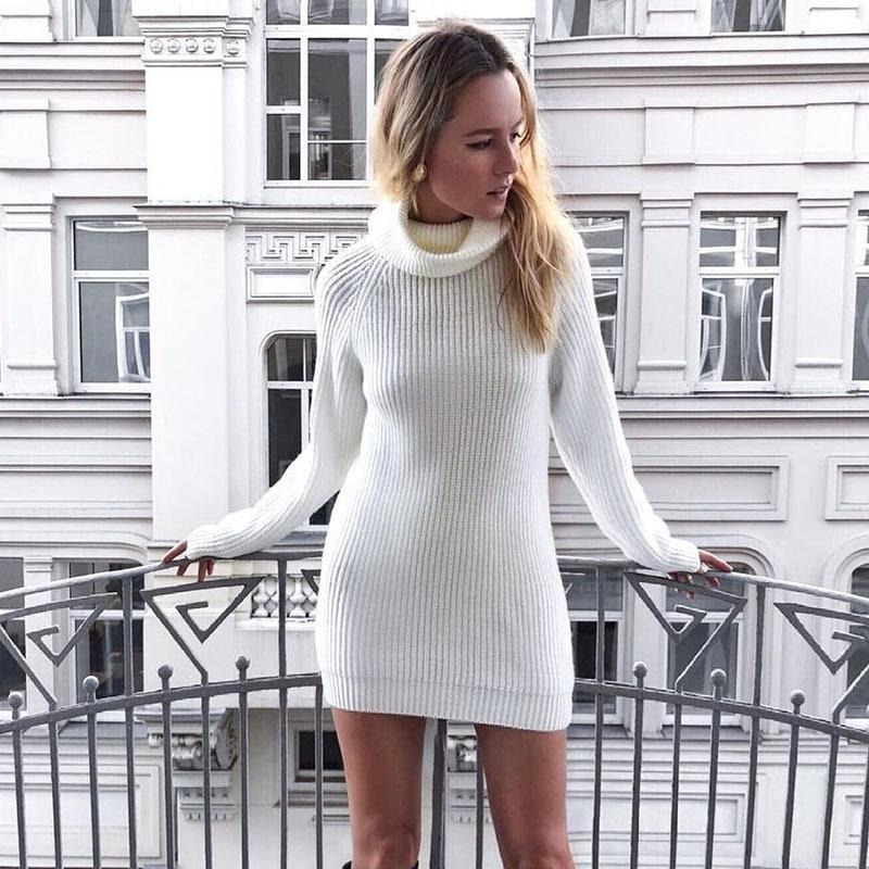 High Turtleneck Long Loose Sleeves Women White Oversized Slim Sweater