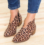 Chunky Heel Leopard Ankle Boots