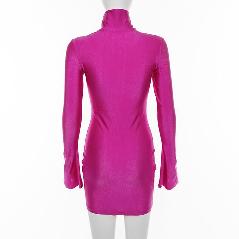 Pink Bell Sleeve O Neck Bodycon Corset Dress