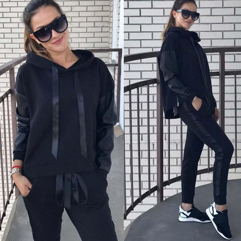 Solid Color Draw-sting Loose Hoodie with Long Pants Women Casual Two Pieces Set