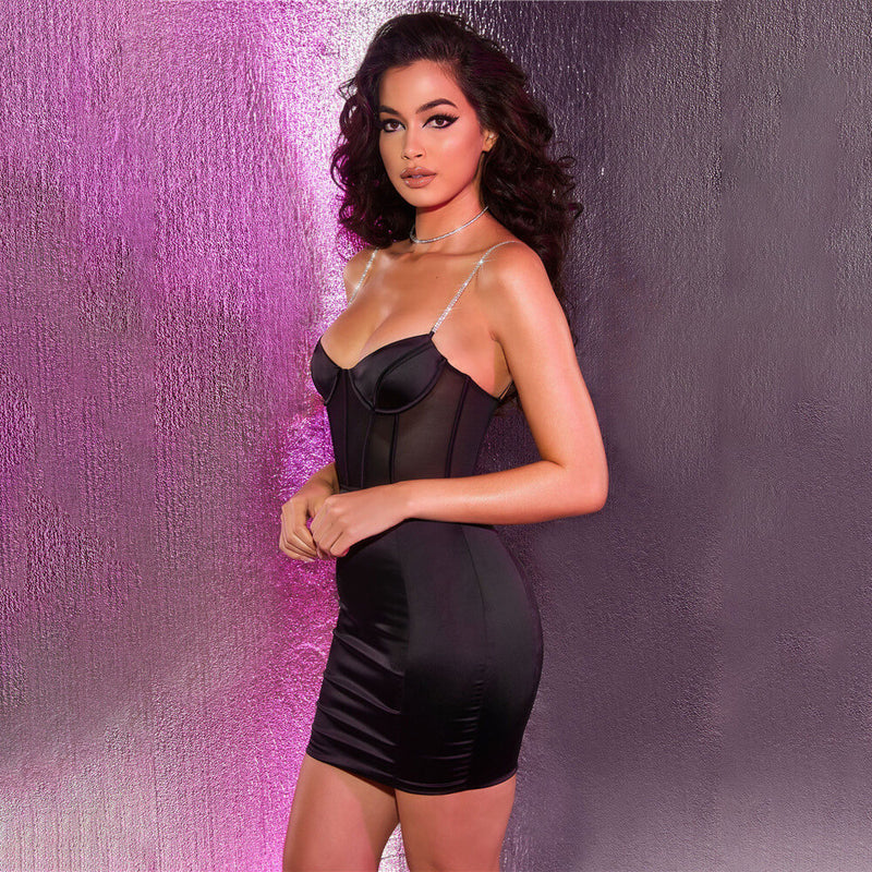 Mesh Patchwork Spaghetti Strap Little Black Dress