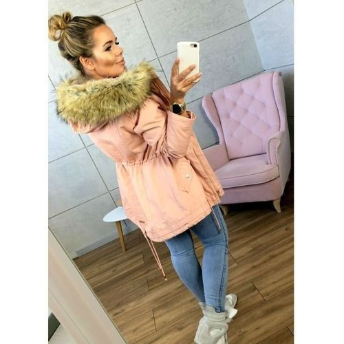 Faux Fur Collar Zippers Solid Color Women Hooded Coat