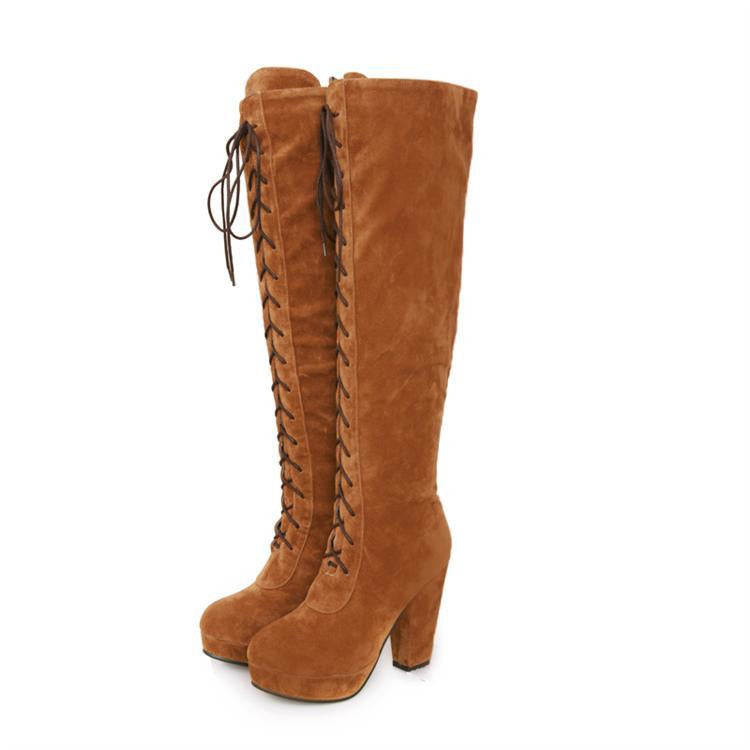 British Style High Heel Cross Strap High Thick Boots