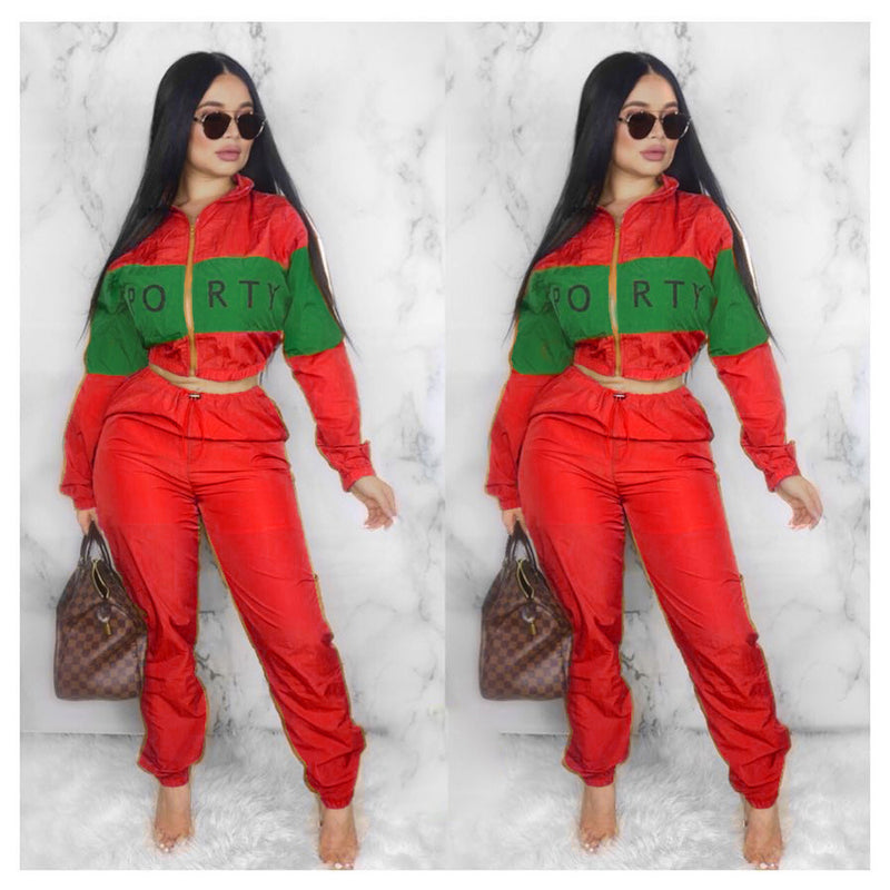 Letter Print Patchwork Cropped Outwear with Long Loose Pants Women Two Pieces Set