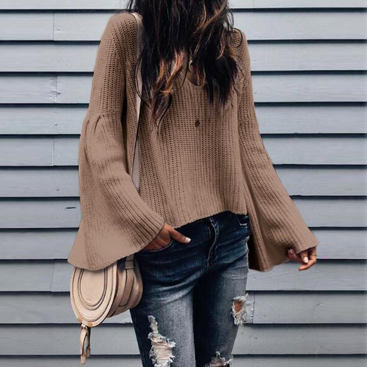Solid Color V-neck Women Loose Bell Sleeve Sweater