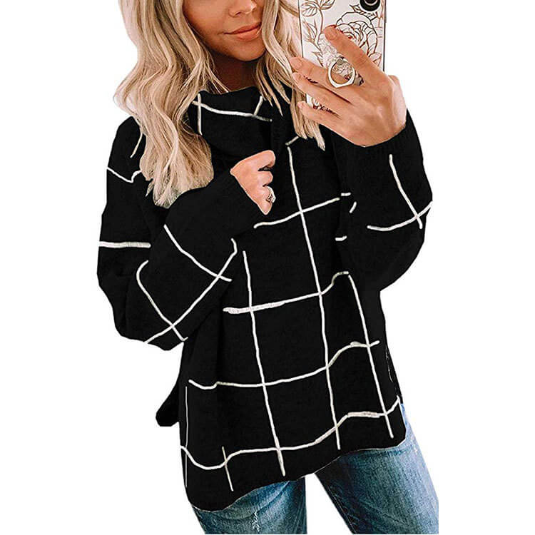 Turtleneck Plaid Slits Knit Sweater