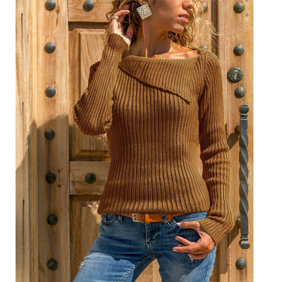 Solid Color Lapel Collar Women Slim Sweater