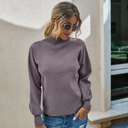 Soild Pullover Mock Neck Sweater