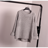 Korean Style Loose Spiit Knit Pullover Solid Color Sweater