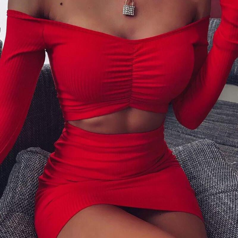 Long Sleeve Off Shoulder Ruched Bodycon Corset Dress