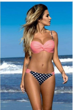 Candy Color Stripe Polka Dot Low Waist Two Pieces Bikini Set - Meet Yours Fashion - 9