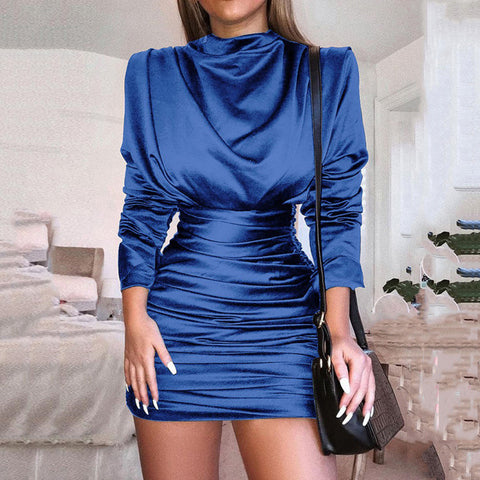 High Neck Twinkle High Waist Long Sleeves Women Short Bodycon Dress