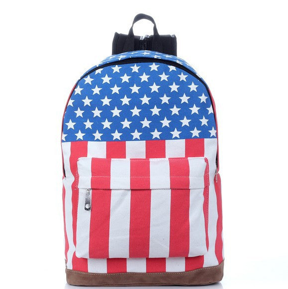 National Flag Print Backpack Canvas Travel School Bag - Meet Yours Fashion - 1