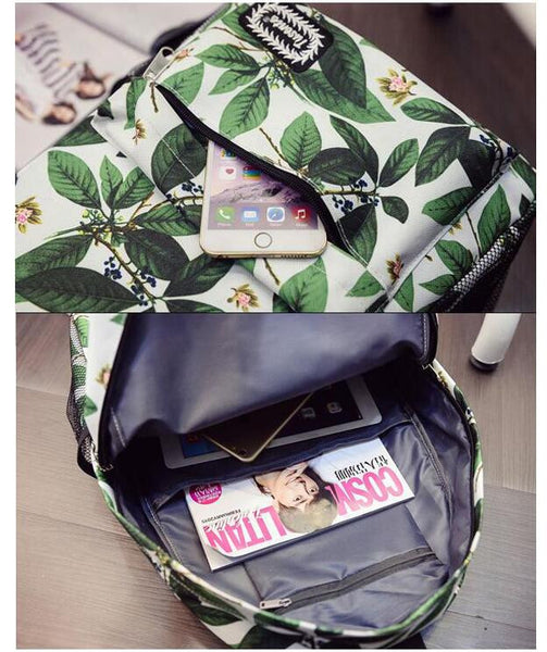 Green Leaves Print Fashion School Backpack - Meet Yours Fashion - 3