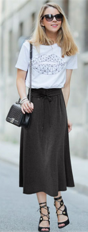 Lace Up Elastic Solid Pleated Long Skirt - Meet Yours Fashion - 1
