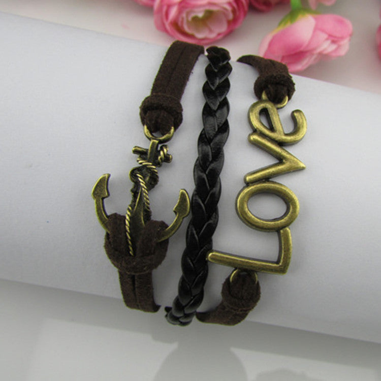 Fashion Love Anchor Multilayer Woven Bracelet