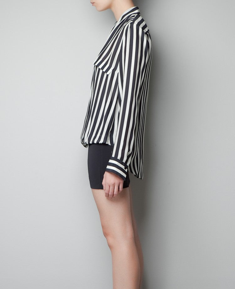 Striped Deep V-neck Long Sleeves Slim Chiffon Blouse - Meet Yours Fashion - 4