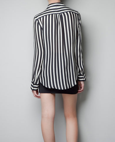Striped Deep V-neck Long Sleeves Slim Chiffon Blouse - Meet Yours Fashion - 5